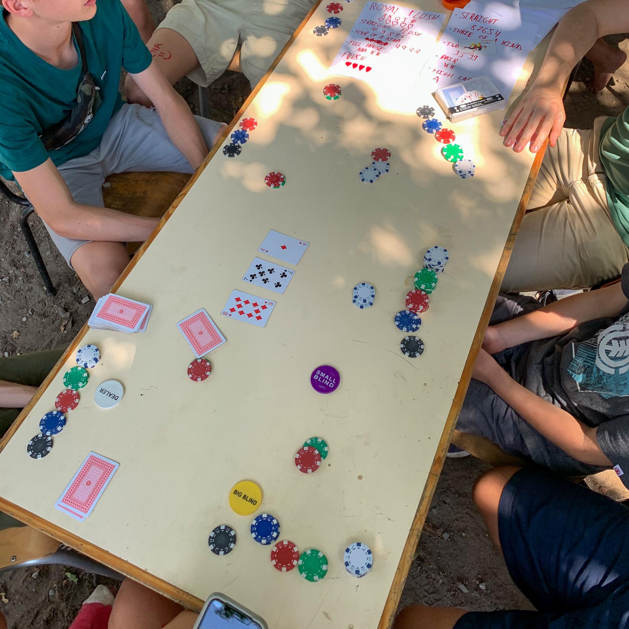 De vops (tieners) spelen graag gezelschapspelletjes zoals poker